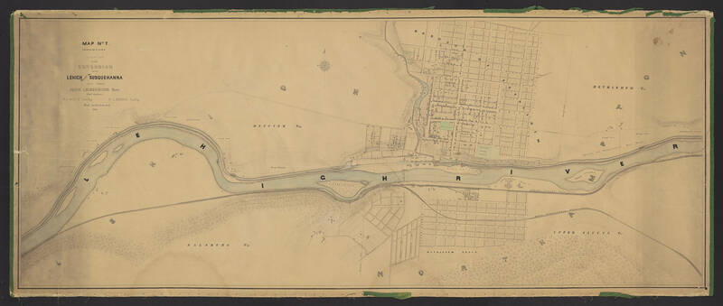 A series of 9 maps, detailing the Lehigh and Susquehanna Railroad running alongside the Lehigh River from Mauch Chunk to Easton. These maps also include surveying information on local landowners, towns, and cities.