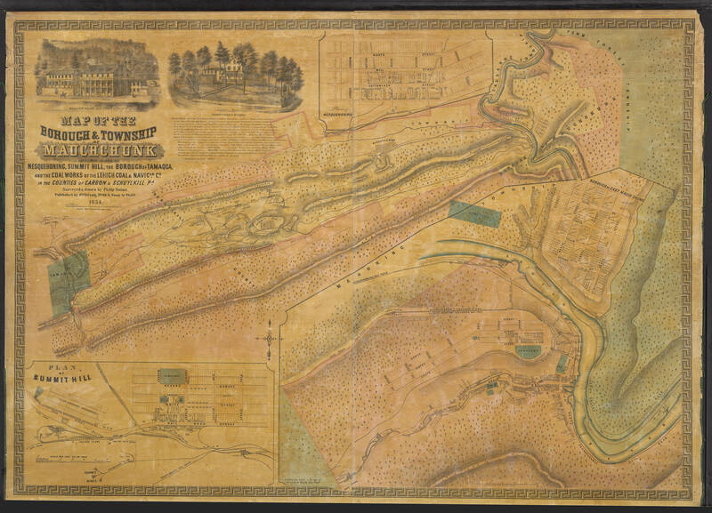 This large map shows a map of the Borough & Township of Mauch Chunk including plans of Nesquehoning, Summit Hill, the borough of Tamaqua, and the coal works of the Lehigh Coal & Navigation Company. Included in the top left corner of the map are two manuscript illustrations depicting the Mansion House of George Esser and the Superintendent's residence.